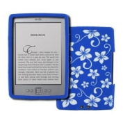 EMPIRE Amazon Kindle Design Silicone Skin Case Cover (Blue with White Hawaiian Flowers) [EMPIRE Packaging]