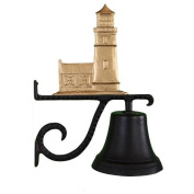Montague Metal Cast Bell with Gold Cottage Lighthouse Ornament