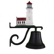 Montague Metal Cast Bell with Colour Cottage Lighthouse Ornament