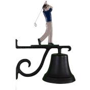 Montague Metal Cast Bell with Colour Golfer Ornament