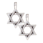 Fine Silver Plated Pewter Large Star Of David Pendant 17mm