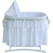 Lamont Home Goodnight Baby Bassinet with Full Skirt, White