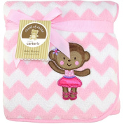 Child of Mine by Carter's Ballerina Monkey 2-Ply Embroidered Fluffy Fleece Blanket