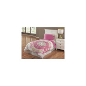 Kids Sun Medallion 2 or 3 Piece Comforter Set in Ivory and Fushia-3 Piece Full