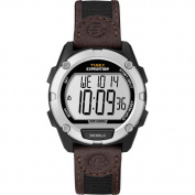 Timex Men's Expedition Digital CAT Watch, Black/Brown Nylon/Leather Strap