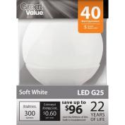 Great Value LED Deco Globe Light Bulb, Soft White