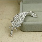 Demarkt Fashionable Style Sterling Silver Element Crystal Diamend Leaf Brooch Beautiful and Unique Shape Broach