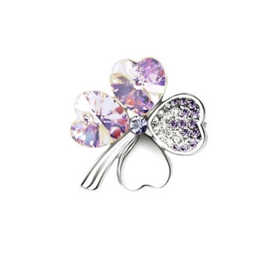 High Quality with low price. Beautiful light purple Clover Brooch. Elements Crystal Four Leaf Clover Love Heart Silver Plated. Light violet amethyst crystals.