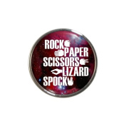 Rock Paper Scissors Lizard Spock Design Metal Fridge Magnet