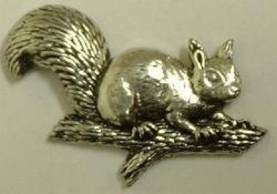 Squirrel on Branch Pin Badge in Fine English Pewter, Handmade