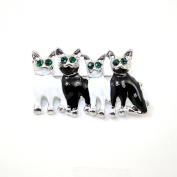 4 x Cats/Kittens Brooch in Black & White Enamel with faceted Emerald Coloured Crystal/ Diamante/Rhinestones for Eyes.