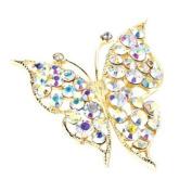 Gold AB Crystal Butterfly Brooch AJ25838