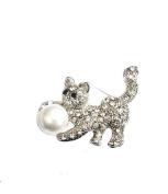 Silver Crystal Pearl Bead Cat Kitten Hen Fancy Dress Party Animal Brooch Pin Jewellery