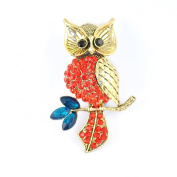 Antique/Vintage Style Gilt/Gold Effect Owl Brooch Embellished with Ruby Red & Teal Crystal/ Diamante Stones.