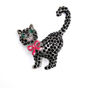 Black/Jet Crystal/Diamante Cat Brooch with Pink Enamel Bow.