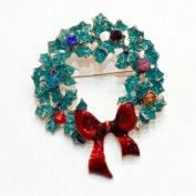 Festive Christmas Twig Wreaths Brooch Enamel Green Red Holiday Joy Brooch Pin Gift xmas