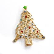 Gold Christmas Vintage Style Holiday Christmas Tree Crystal Brooch Pin Christmas jewellery gift deco