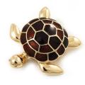Gold Plated Brown Enamel 'Turtle' Brooch