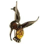 Baltic amber and sterling silver 925 designer cognac hummingbird brooch pin jewellery jewellery