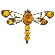 Baltic amber and sterling silver 925 designer cognac dragonfly brooch pin jewellery jewellery