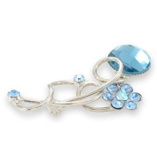 Silver Tone Blue Crystals Daisy Brooch - Pin Fastening with Lock