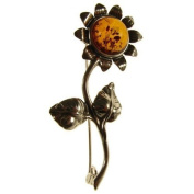 Baltic amber and sterling silver 925 designer cognac sunflower brooch pin jewellery jewellery