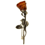 Baltic amber and sterling silver 925 designer cognac rose brooch pin jewellery jewellery