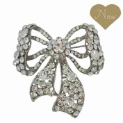 Vintage inspired bow brooch encrusted with Czech crystals mother bridal gift