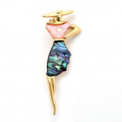 Mother of Pearl Woman in Golden Hat Design Shell Brooch Pin