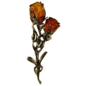 Baltic amber and sterling silver 925 designer cognac roses brooch pin jewellery jewellery