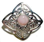 Celtic Silver White Mother of Pearl Stone Set Brooch