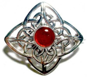 Celtic Silver Brown Agate Stone Set Brooch
