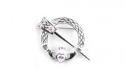 Silverspirit Jewellery Claddagh Silver Tara Brooche with White Cubic Zirconia Stone