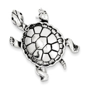 Sterling Silver Antiqued Turtle Pin - JewelryWeb