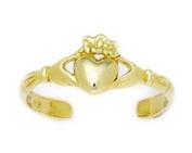 14ct Yellow Gold Adjustable Heart Body Jewellery Toe Ring - JewelryWeb