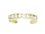 14ct Yellow Gold CZ Adjustable Elegant Multistone Body Jewellery Toe Ring - JewelryWeb