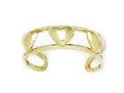 14ct Yellow Gold Adjustable Double Row With Hearts Body Jewellery Toe Ring - JewelryWeb