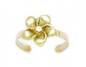 14ct Yellow Gold Adjustable Flower Body Jewellery Toe Ring - JewelryWeb