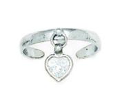 14ct White Gold CZ Adjustable Heart Drop Body Jewellery Toe Ring - JewelryWeb