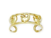 14ct Yellow Gold Adjustable Double Row With Dolphin Body Jewellery Toe Ring - JewelryWeb
