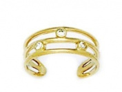 14ct Yellow Gold CZ Adjustable Triple Row Body Jewellery Toe Ring - JewelryWeb