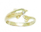 14ct Yellow Gold CZ Top Adjustable Dolphin Body Jewellery Toe Ring - JewelryWeb
