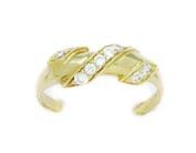 14ct Yellow Gold CZ Adjustable Spiral Body Jewellery Toe Ring - JewelryWeb