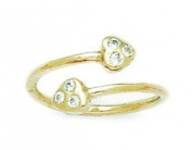 14ct Yellow Gold CZ Top Adjustable Double Hearts Body Jewellery Toe Ring - JewelryWeb