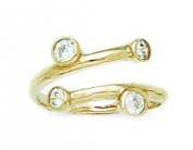 14ct Yellow Gold CZ Top Adjustable Fancy Body Jewellery Toe Ring - JewelryWeb