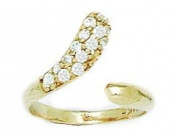 14ct Yellow Gold CZ Top Adjustable Snake Shape Body Jewellery Toe Ring - JewelryWeb