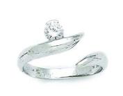 14ct White Gold CZ Top Adjustable Fancy Body Jewellery Toe Ring - JewelryWeb