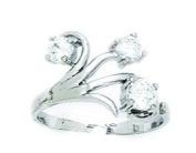 14ct White Gold CZ Top Adjustable Flowers Body Jewellery Toe Ring - JewelryWeb