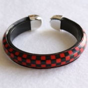 Black Red Cheque Checked Open Bangle