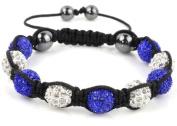 Shamballa Bracelet White & Blue Disco Ball Friendship Bead Unisex Bracelets. Crystal Beads